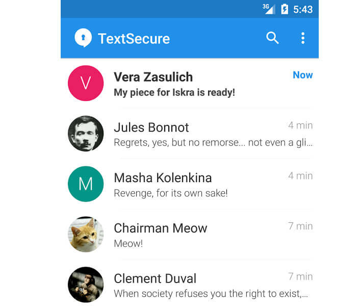 TextSecure, messagerie instantanée sous Android