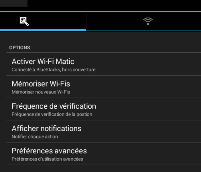 Wi-Fi Matic: options avancées