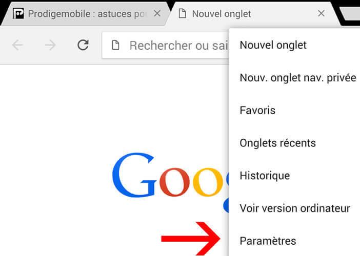 Paramètres de Chrome sur Android