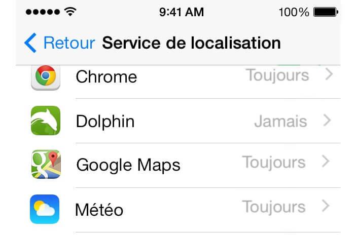 Service de localisation pour les applications iPhone