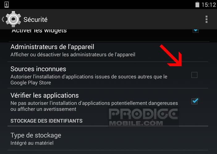 Activer option sources inconnues