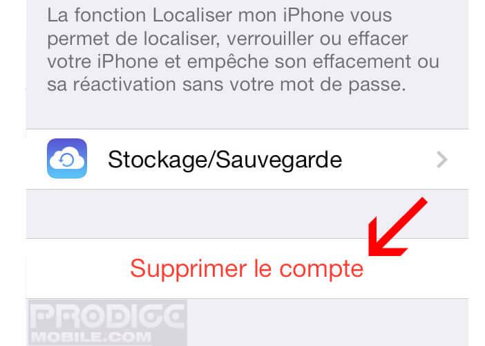 Dissocier l'iPhone d'un compte iCloud