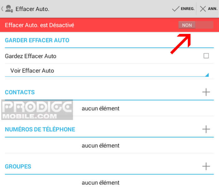 Activer la fonction effacer auto dans Call Log Monitor