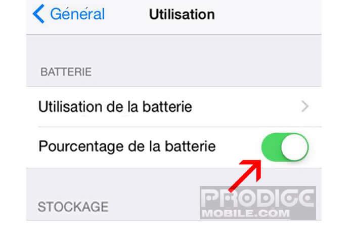 Activer l'affichage du pourcentage de batterie restante