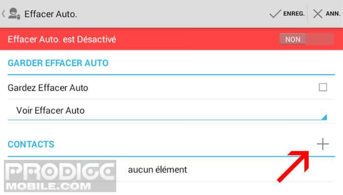 Ajouter des contacts dans l'appli dans effacer auto