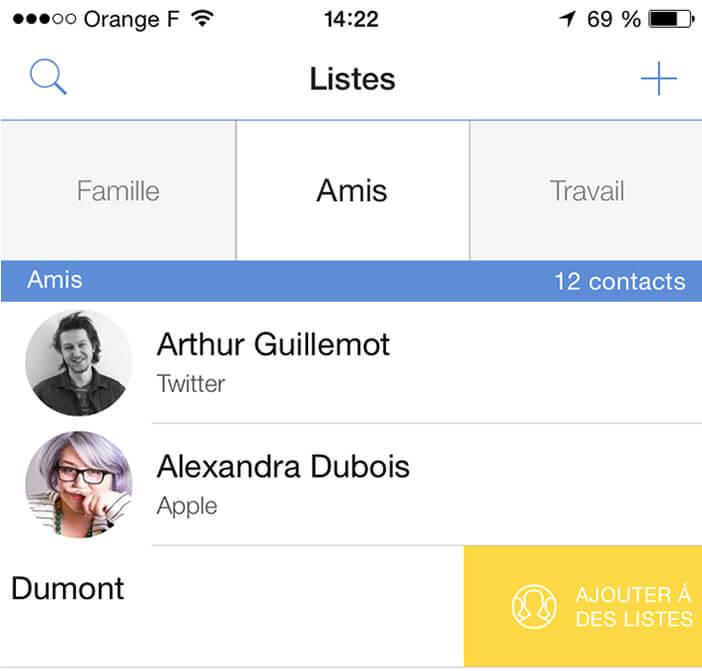 Ajouter un contact à une liste Connect