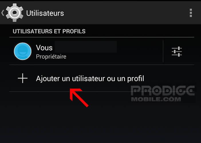 Créer un nouveau compte utilisateur sur une tablette