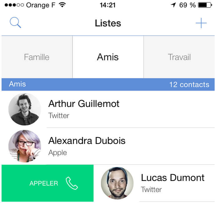 Lancer un appel à partir de l'application Connect