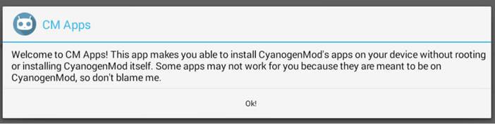 message d'avertissement de l'application CM Apps