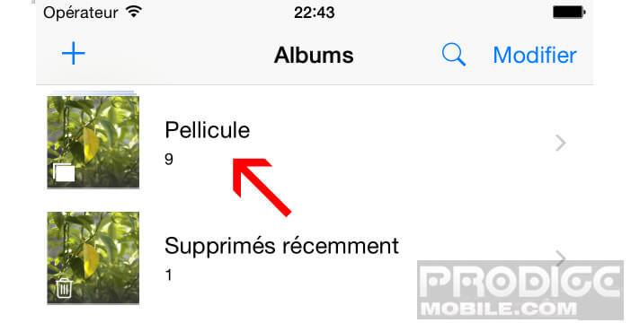 Ouvrir une capture d'écran dans l'application Photos