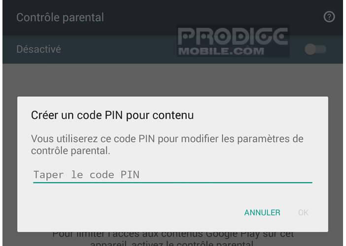 Code Pin pour filtrer le contenu des jeux et des applications