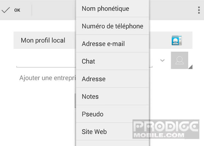 Modifier le compte propriétaire sur Android