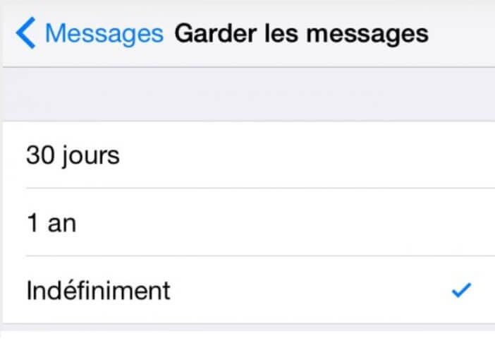 Définir le délai de conservation des messages