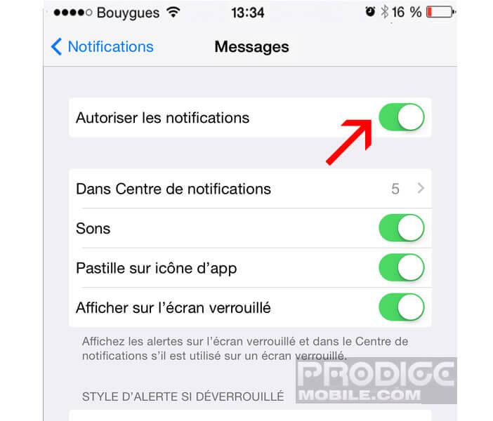 Désactiver les notifications pour une application en particulier
