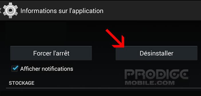 désinstaller une application préinstallée sur Android