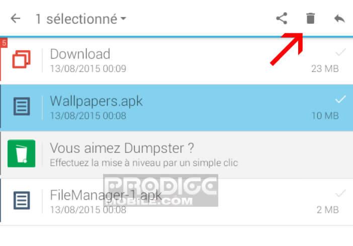 Supprimer définitivement un fichier dans Dumpster