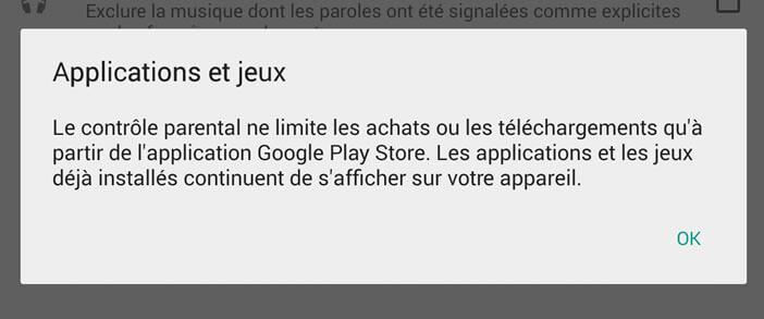 Limiter les achats sur le Play Store