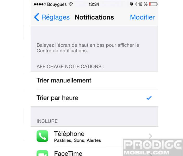 Liste des applis iPhone envoyant des notifications