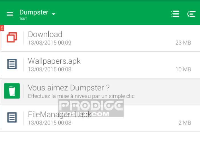 Liste des fichiers effacés dans Dumpster