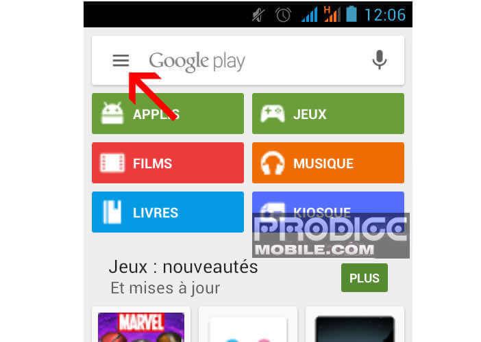 Ouvrir le menu du Play Store de Google