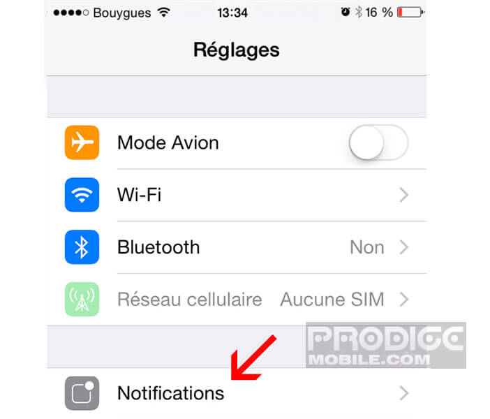 iPhone: paramètres des notifications