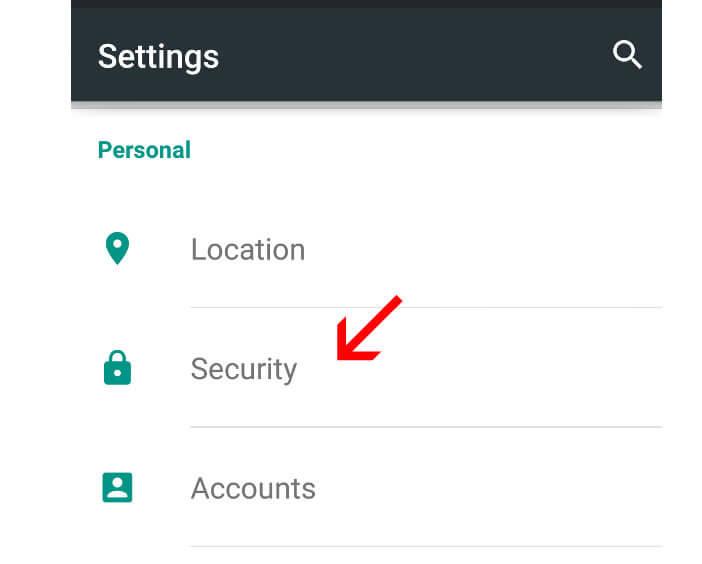 Définir les paramètres de sécurité Android Lollipop
