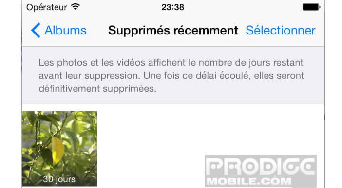Photos supprimées récemment sur l'iPhone