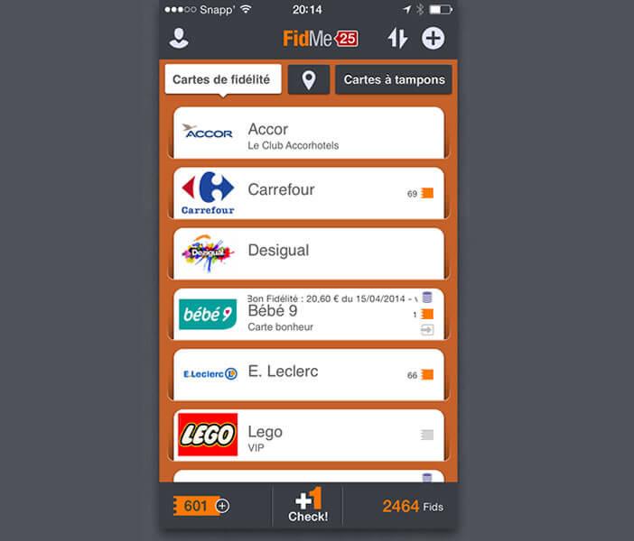 Liste des programmes de fidélité de l'application FidMe