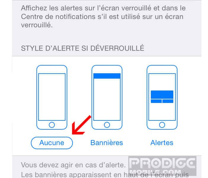 Arrêter les alertes si l'iPhone est déverrouillé