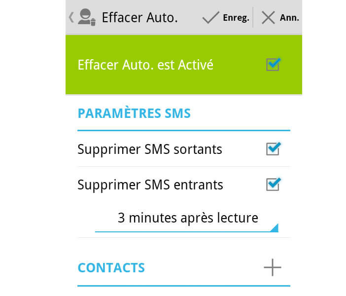 Supprimer SMS sortants et entrants