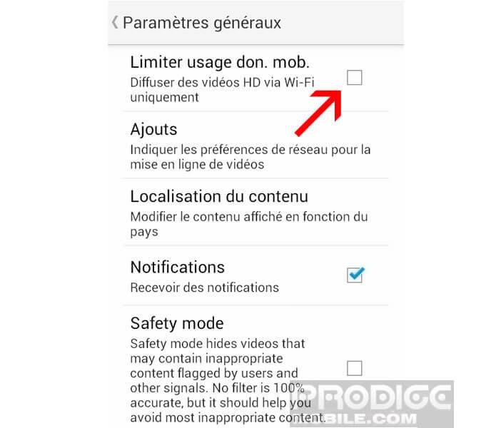 Réduire la consommation de données sur YouTube