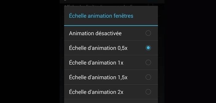 Désactiver les effets d'animation sous Android