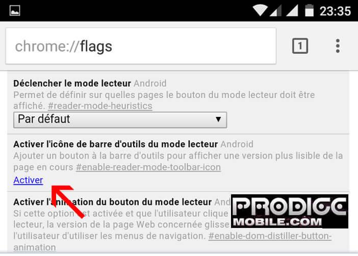 Lancer le mode lecteur sur Chrome pour Android