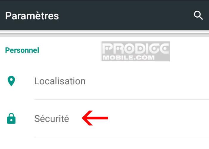 Paramètres de sécurité smartphone Android Lollipop