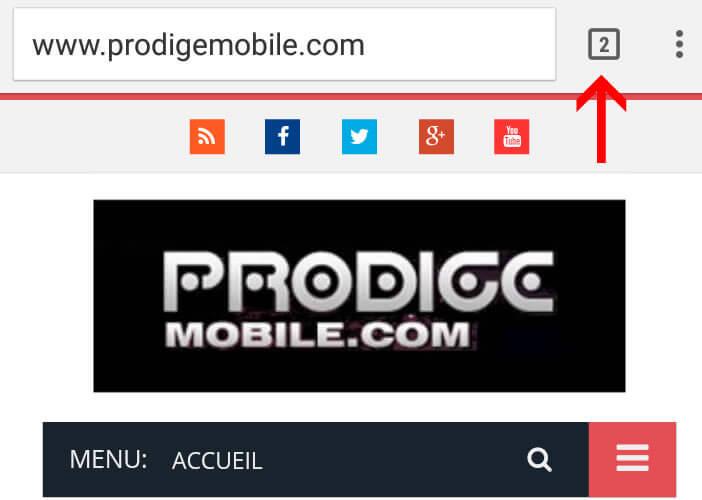 Bouton onglet pour gérer l'affichage des pages dans Chrome