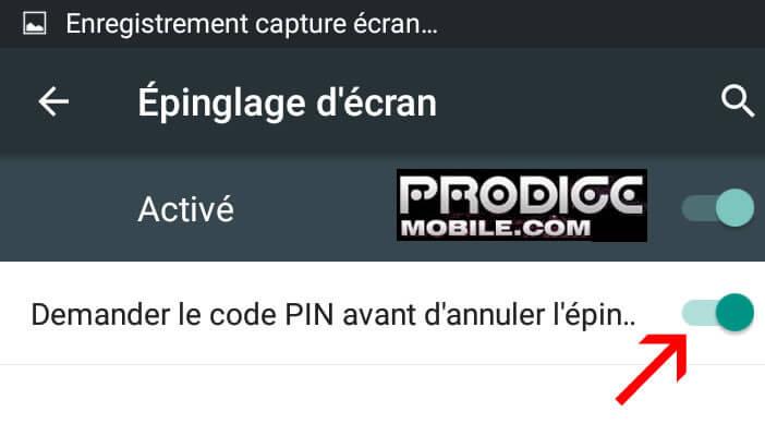 Activer le code PIN avant d'annuler épinglage