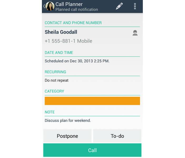 Call Planner: créer une alerte dans l'application Call Planner