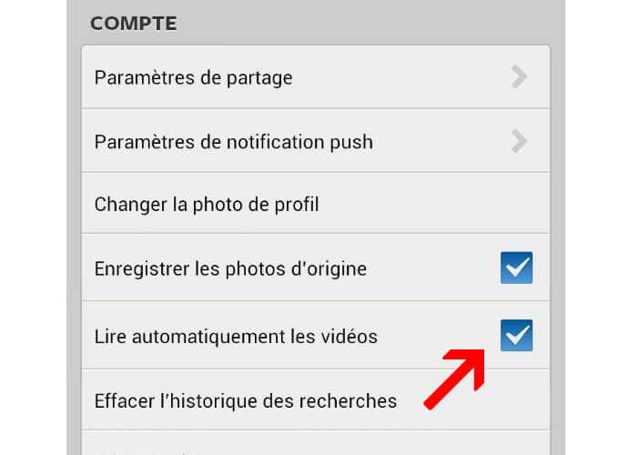 Désactiver la lecture automatique de vidéos sur Instagram