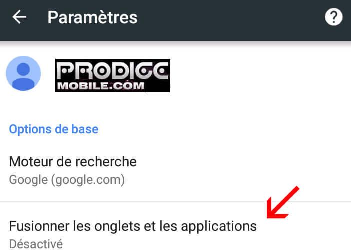 Option pour fusionner les onglets Chrome avec les applications en cours