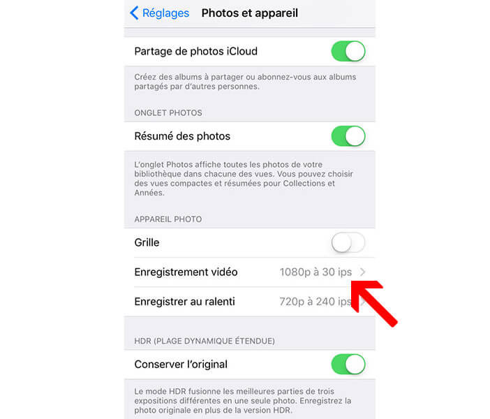 Modifier le format d'enregistrement de l'iPhone 6S