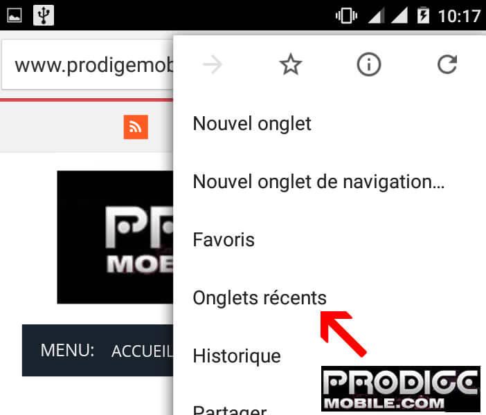 Accéder à la rubrique Onglet récent sur Chrome pour Android