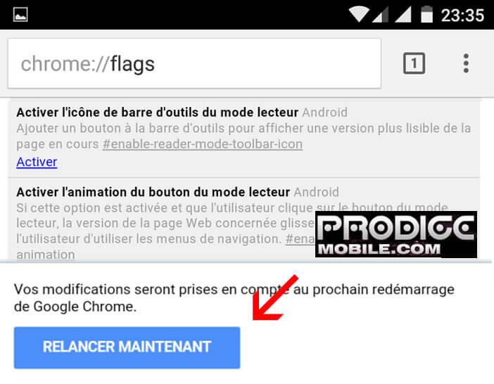 Relancer le navigateur Chrome pour activer le mode lecteur