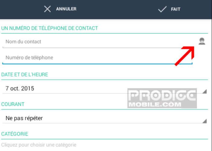 Ajouter un contact depuis le répertoire téléphonique de votre smartphone