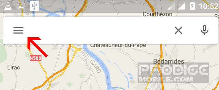 Ouvrir le menu des options de Google Maps