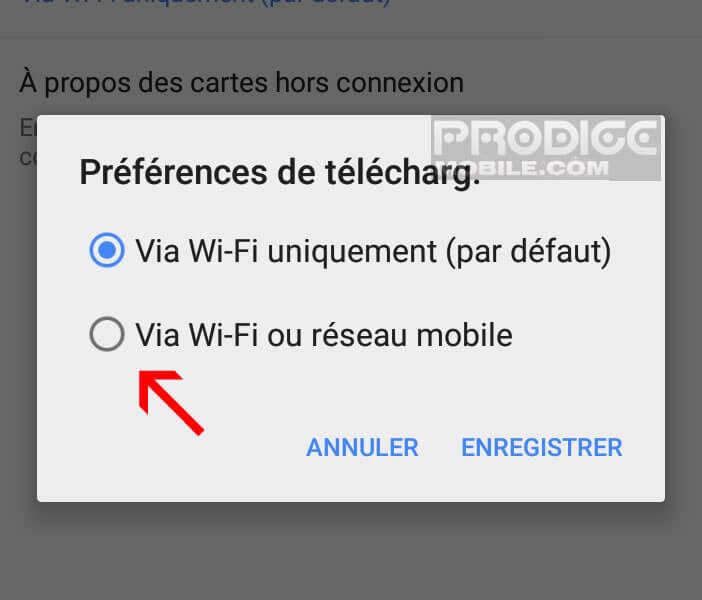 Télécharger les cartes via la connexion 3G ou 4G de votre mobile