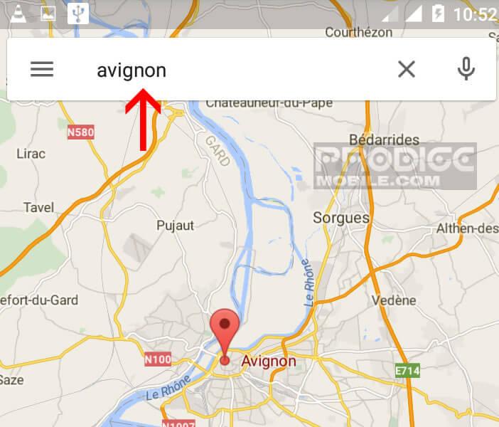 Rechercher une localité dans Google Maps