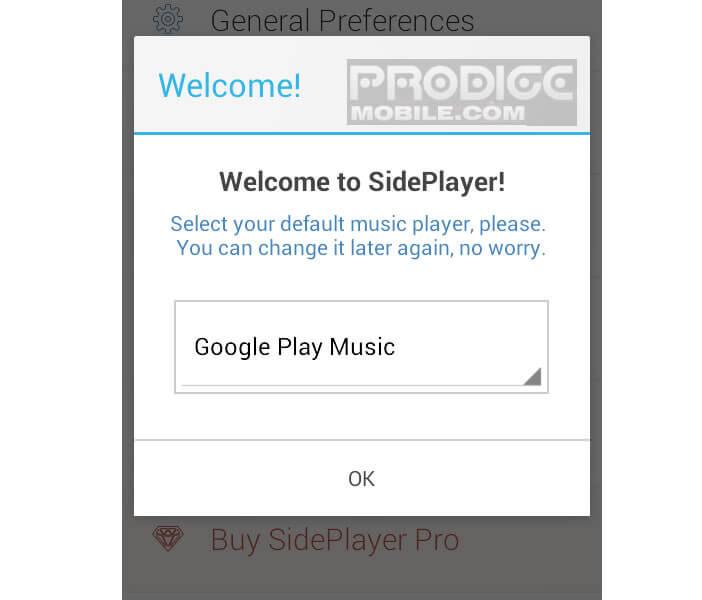 Sélectionner le player audio compatible avec SidePlayer