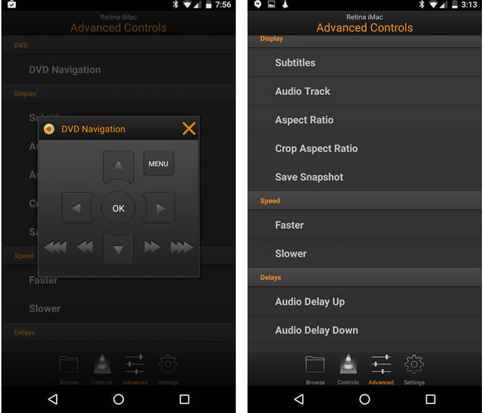 Application Android pour commander à distance VLC