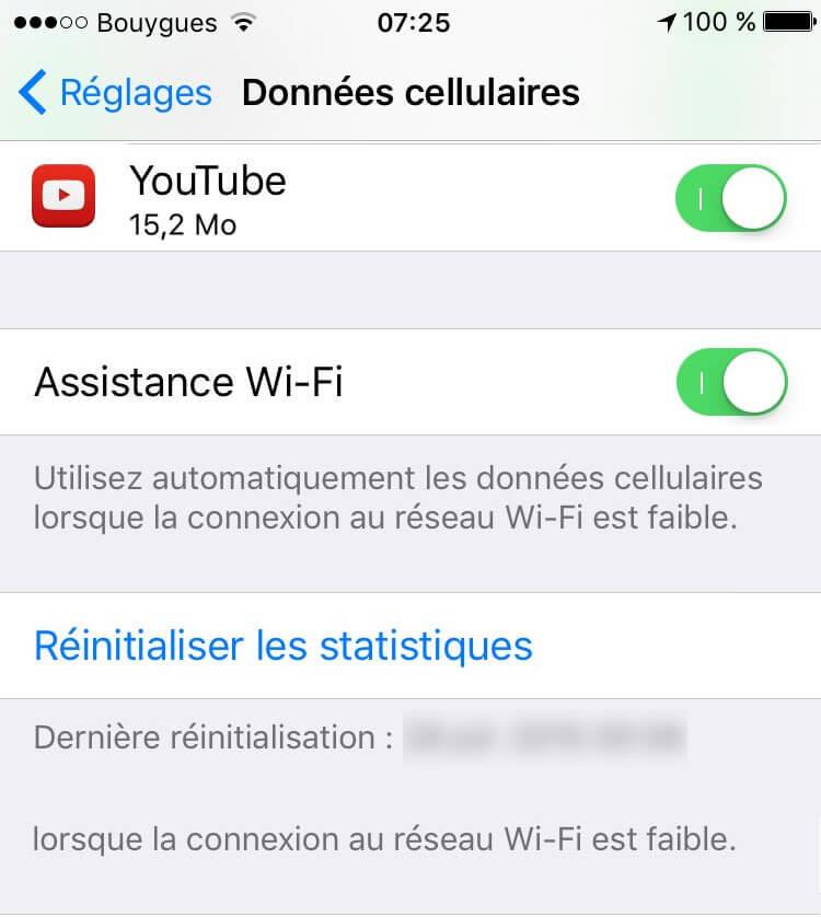 Désactiver la fonction Assistance Wi-Fi