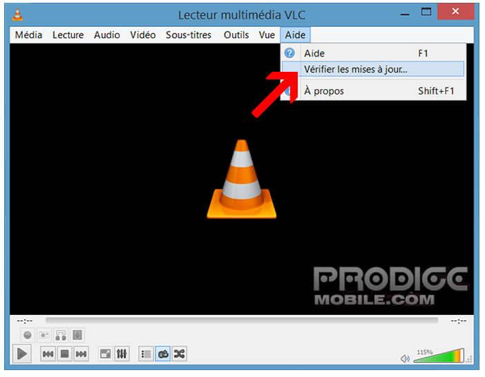 Vérifier les mises à jour pour le lecteur VLC